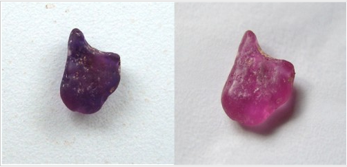 (left) before heating (right) after heat treated rough ruby
