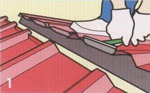 - ถ้าต้องการพับหัวแผ่นขึ้น ให้พับหัวแผ่นหลังคาขึ้นทั้งสองด้าน ด้วยเครื่องมือหรือคีมดัดเหล็ก